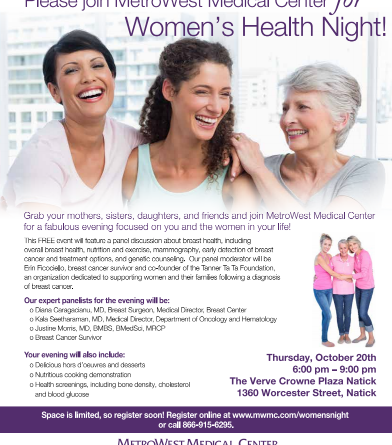 MetroWest Medical Center Hosts Womens39; Health Night Thursday
