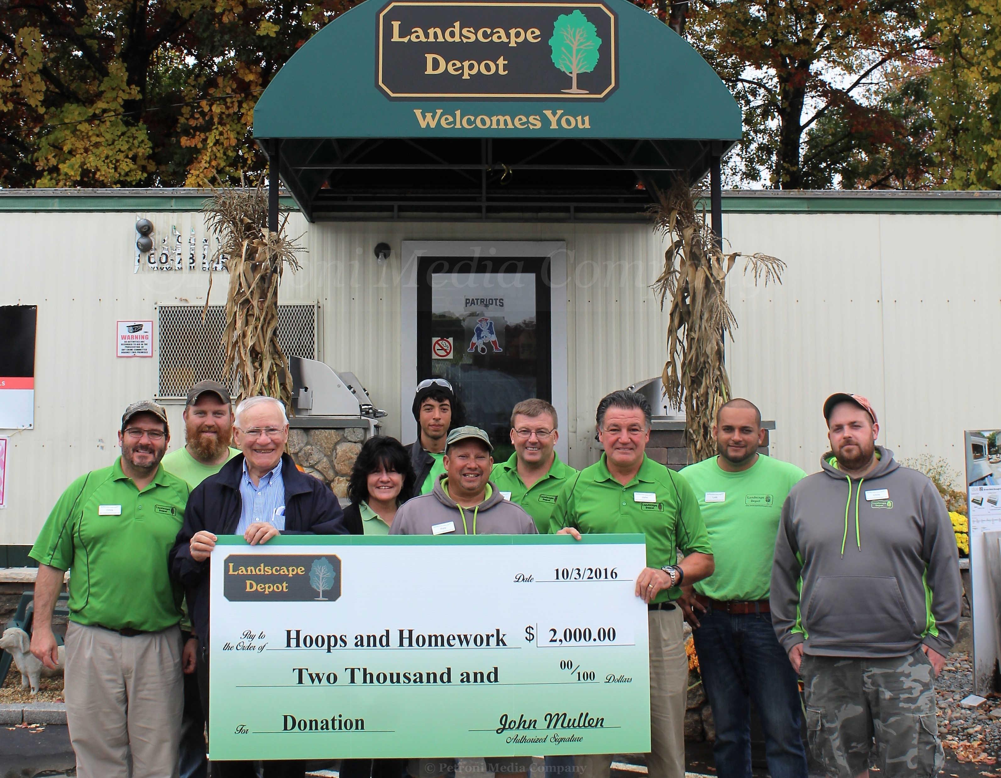 Landscape depot donates 2 000 to hoops homework program for Landscape depot