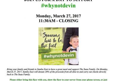 Samba Steak & Sushi Hosting #WhyNotDevin Fundraiser Tonight