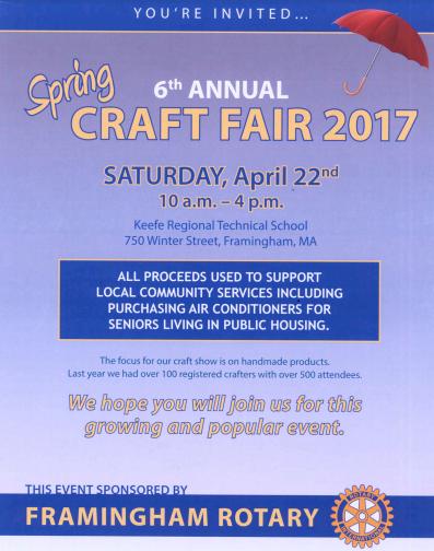 6th annual rotary club craft fair saturday framingham source for Craft fair boston 2017