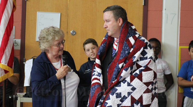 video quilt of valor awarded to mccarthy elementary principal