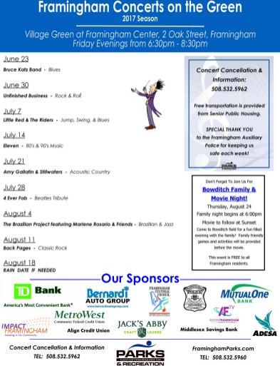Framingham schedule