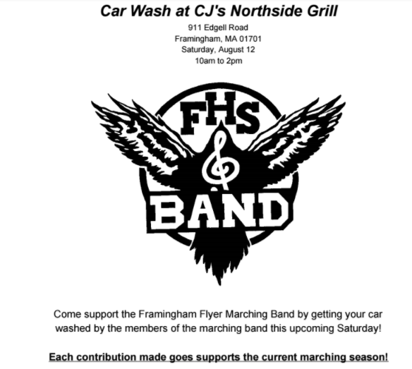 flyers marching band holding car wash fundraiser saturday