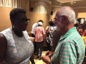Yvonne Spicer and a supporter