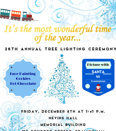 26th Annual Framingham Holiday Tree Lighting on December 8