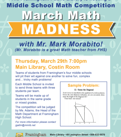Framingham Library Hosting Middle School March Math Madness ...