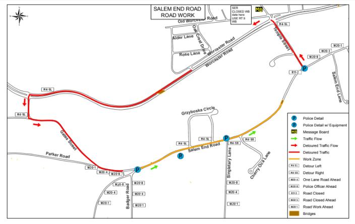 TRAFFIC ALERT: Salem End Road Detour Starting Tuesday