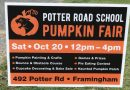Annual Potter Road Pumpkin Fair on October 20