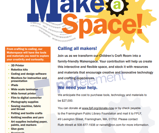Foundation Sets Goal To Raise $27,000 To Transform Framingham Library Craft Room Into Maker Space