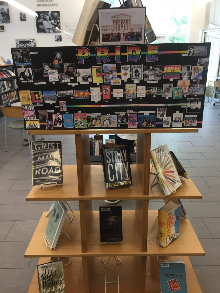LGBTQ+ pride book display at Framingham Library