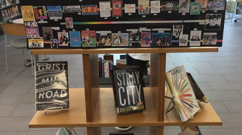 LGBTQ+ pride book display at Framingham Library