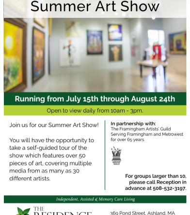 Residence at Valley Farm Hosts Summer Art Show With Framingham Artists' Guild