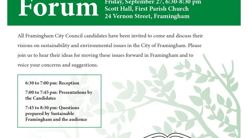 Green Organizations Hosting City Council Forum on September 27