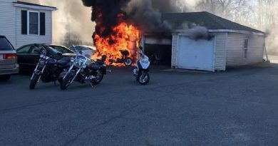 VIDEO: Firefighters Extinguish Motorcycle & Garage Fire Saturday Morning