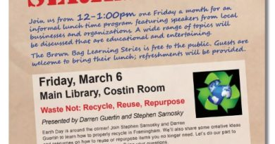 Learn How To Recycle, Reuse, & Repurpose Friday at Framingham Library